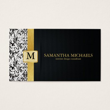 Damask Monogram Interior Design Business Cards