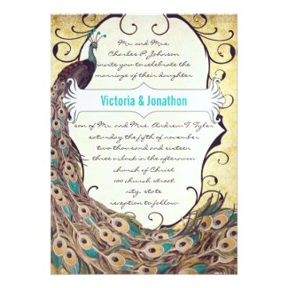 Damask Peacock Elegance Eggplant Gold and Aqua Personalized Invite