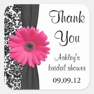 Damask Pink Daisy Wedding Bridal Shower Thank You Square Sticker