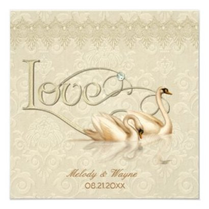 "Damask Swan Elegance Ivory - Wedding Invitation 5.25"" Square Invitation Card"
