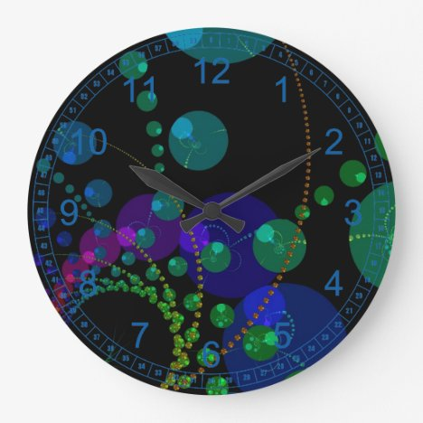 Dance of the Spheres II – Abstract Cosmic Teal Large Clock