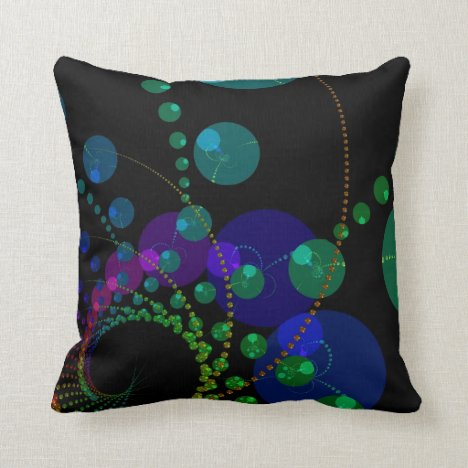 Dance of the Spheres II – Cosmic Violet & Teal Throw Pillow