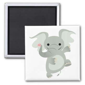 Dancing Cartoon Elephant Magnet magnet
