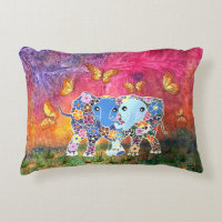 Dancing Elephants Accent Pillow