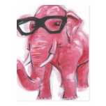 ❤️  Dapper Animal | Pink Elephant In Eyeglasses Postcard