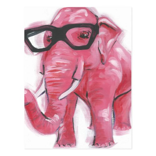 Dapper Animal | Pink Elephant In Eyeglasses Postcard