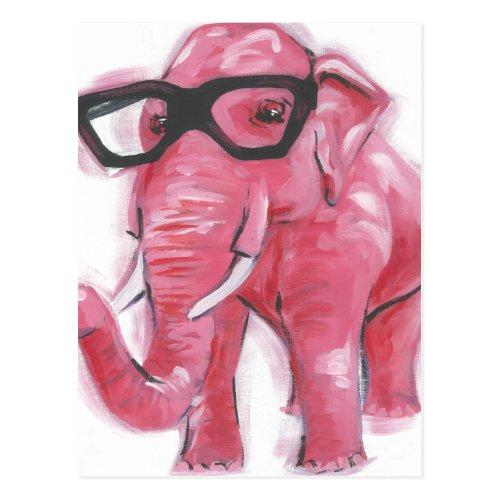 Dapper Animal | Pink Elephant In Eyeglasses Postcard