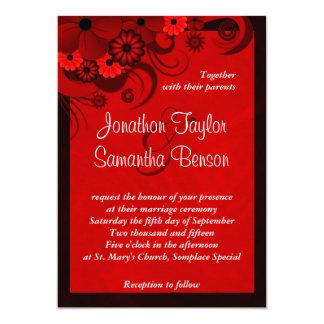 Dark Crimson Red Fl Gothic Wedding Invitation