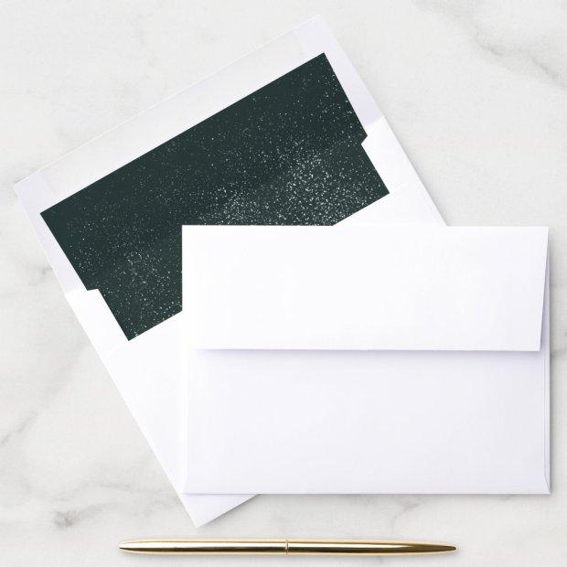 Dark Forest Green Snowy Splatter Abstract Holiday Envelope Liner