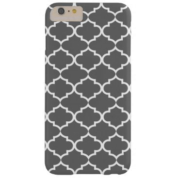 Dark Gray Quatrefoil Trendy Barely There iPhone 6 Plus Case