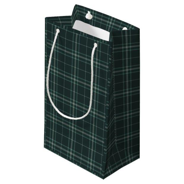 Dark Green Tartan Plaid Holiday and Christmas Small Gift Bag