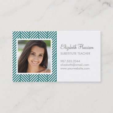 Dark Teal Herringbone Photo Business Card