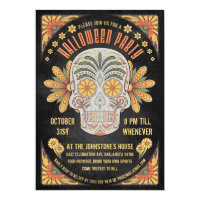 Day of the Dead Skull Halloween Party Invitations