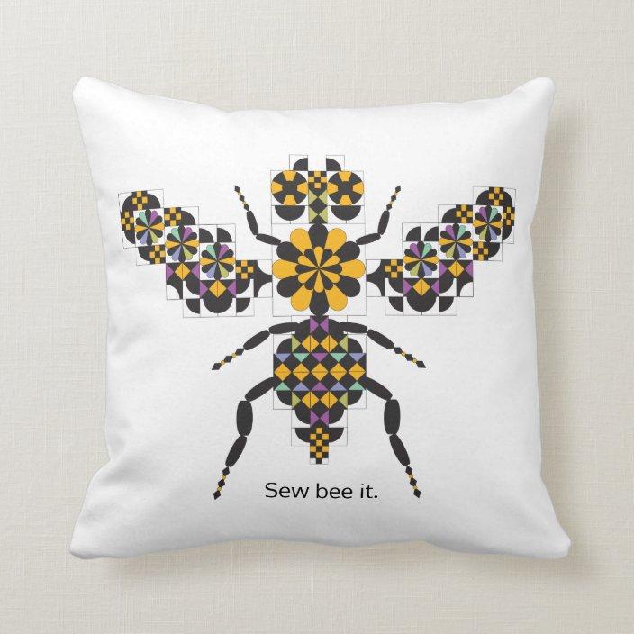 dazzling honey bee quilt pattern throw pillow zazzle com