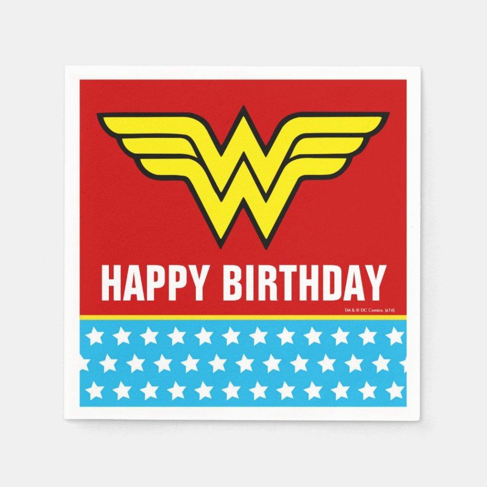 DC Comics | Wonder Woman Logo | Happy Birthday Napkin