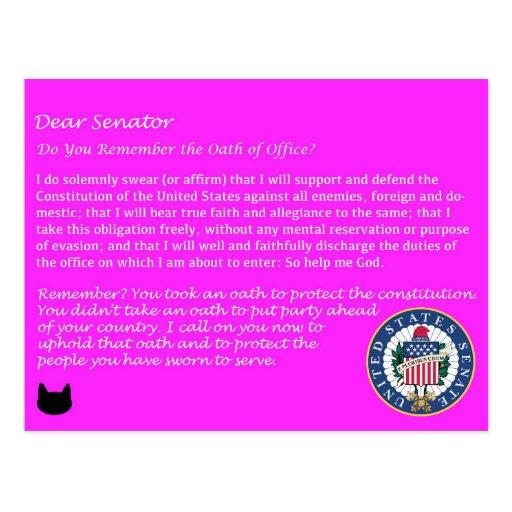 Dear Senator - Oath of Office Political Postcard