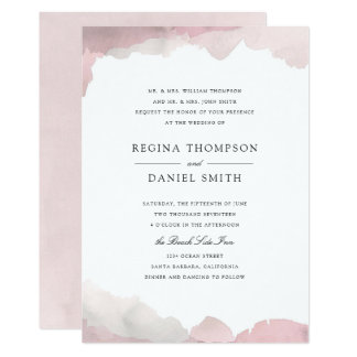 Wedding Invite Customized With Watercolor Background Debonair Blush Pink