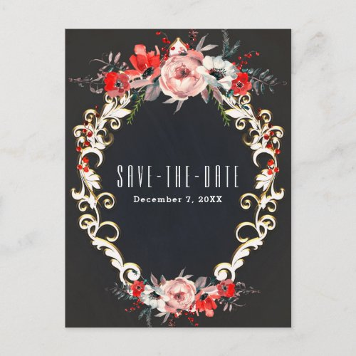 December Winter Wedding Holly Berry Save the Date Announcement Postcard