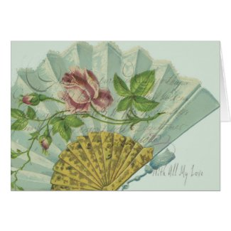 Decorated Valentine Fan Greeting Card