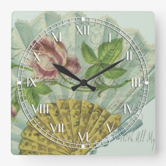 Decorated Valentine Fan Square Wall Clock
