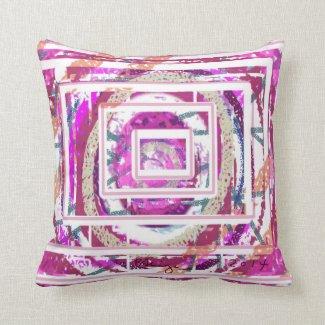 Decorative Pillow Abstract Design Fuchsia