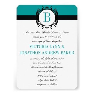 Deep Aqua Damask Monogram Wedding Invite