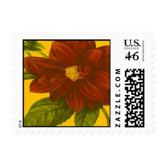 Deep Red Floral stamp