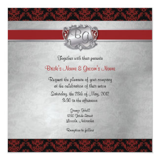 Winter Wonderland Photo Wedding Invite In Red Silver Grey And White Snowflakes With Ribbon