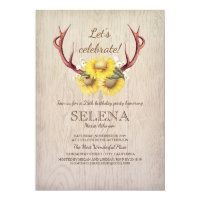 Deer Antlers and Sunflower Rustic Birthday Party Card