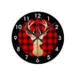 Deer Buffalo Plaid Wood Rustic Woodland Round Clock