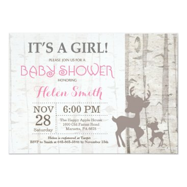 Deer Girl Baby Shower Invitation Rustic Woodland