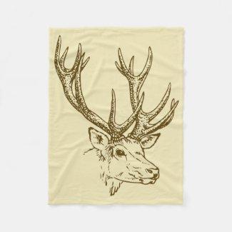 Deer Head Illustration Graphic Fleece Blanket