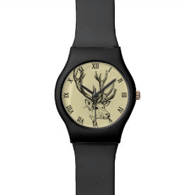 Deer Head Illustration Graphic Wristwatch