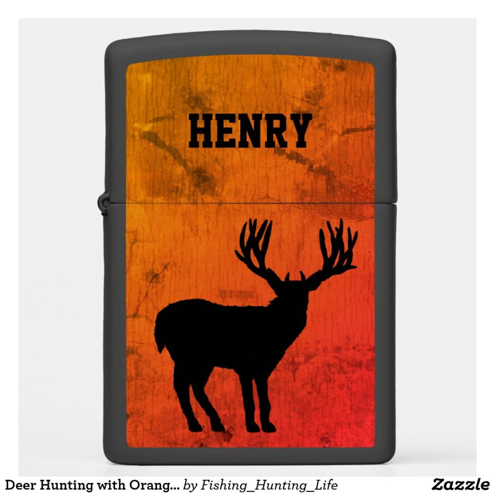 Deer Hunting with Orange Background Zippo Lighter