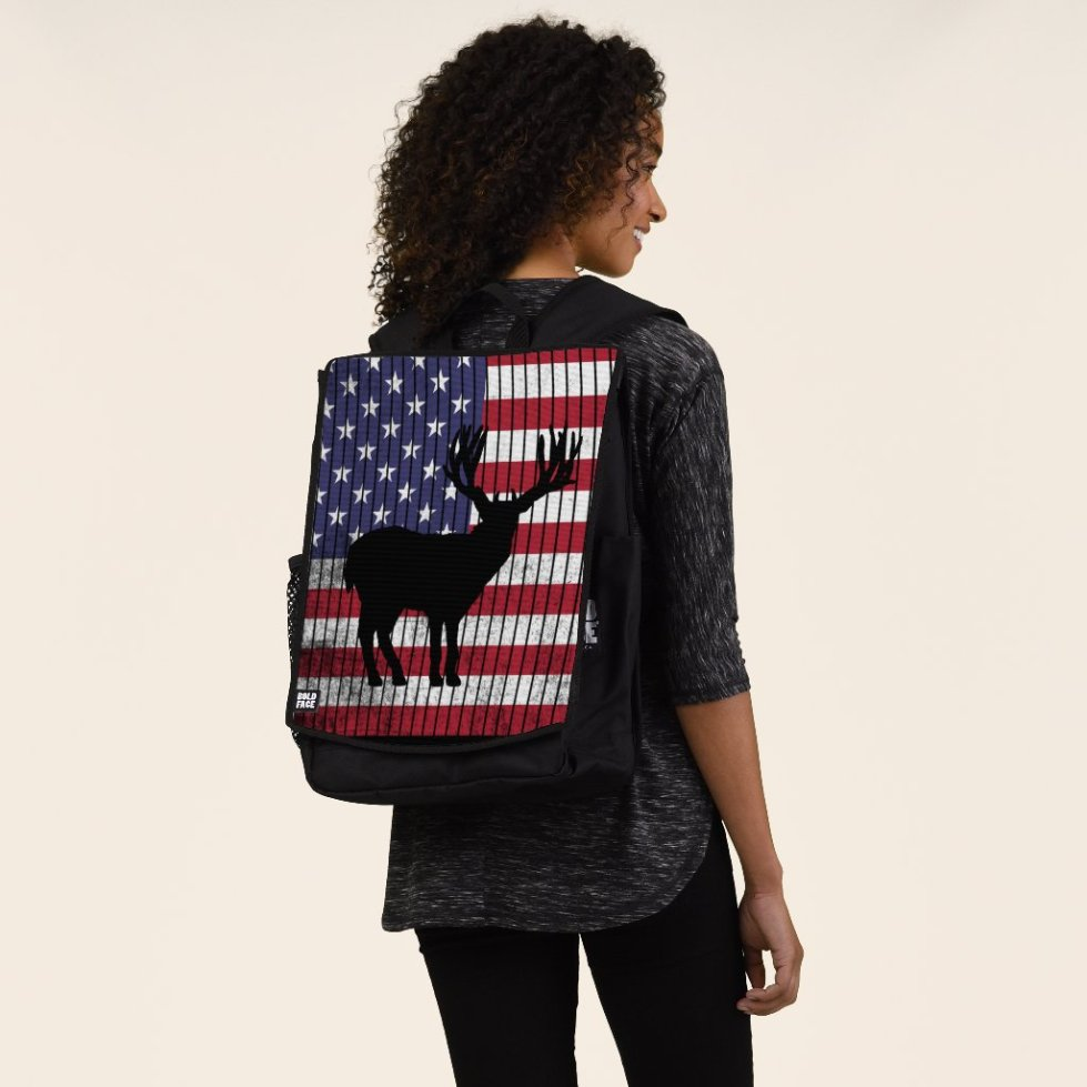 Deer Silhouette United States Flag Backpack