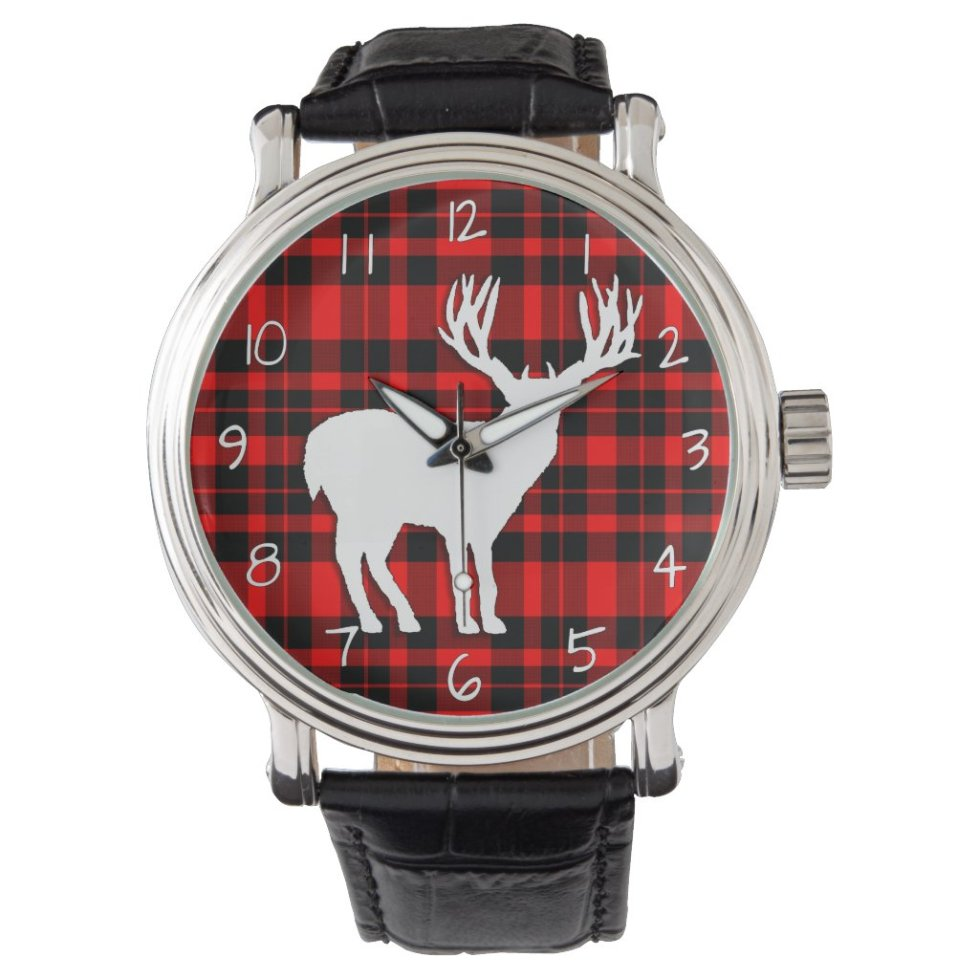 Deer Stag Silhouette on Red Black Plaid Watch