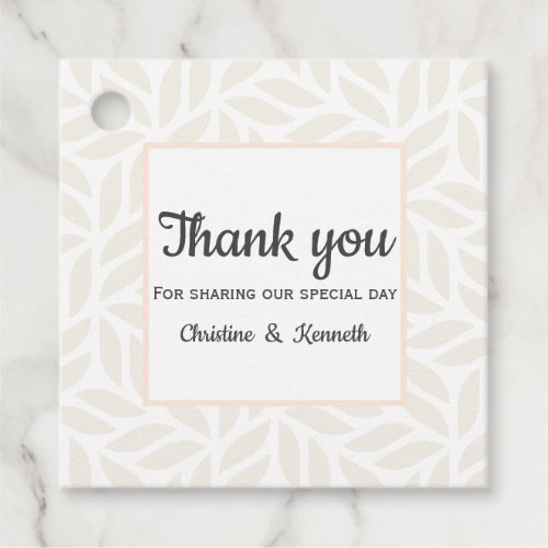 Delicate abstract leaves thank you wedding favor tags