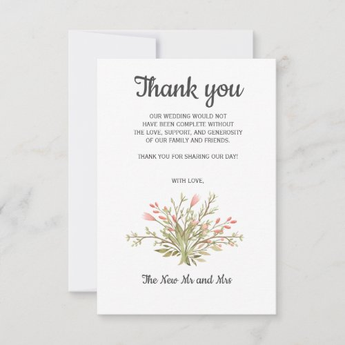 Delicate Pink wildflowers Photo  Wedding Thank you