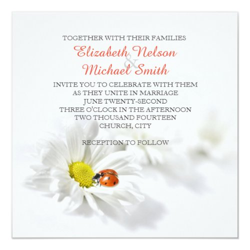 Delicate Spring Daisy Ladybug Wedding Invitation by ADIStyle Wedding Design