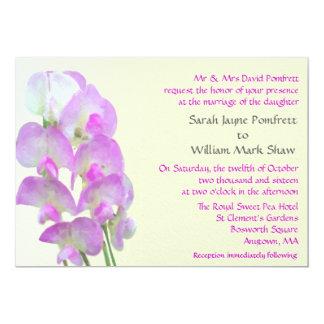 Delicate Sweet Pea Wedding Invitation