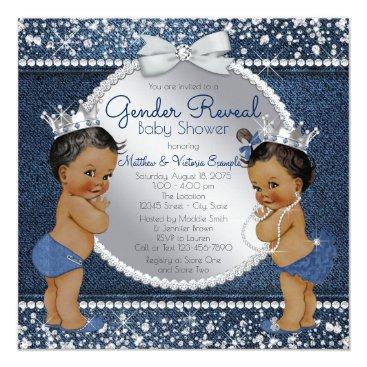 Denim and Diamonds Gender Reveal Shower Card