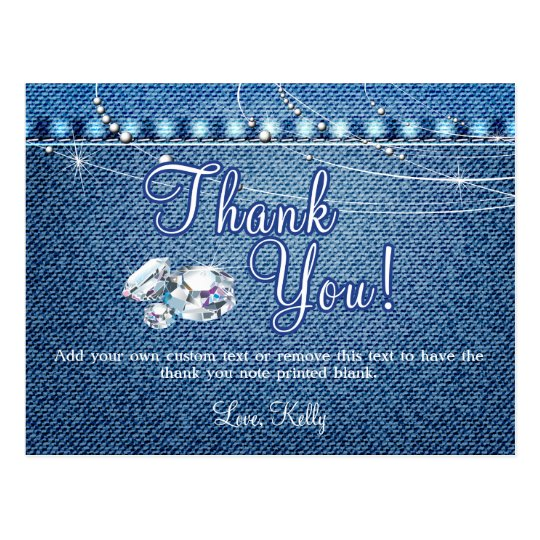Denim And Diamonds Thank You Cards