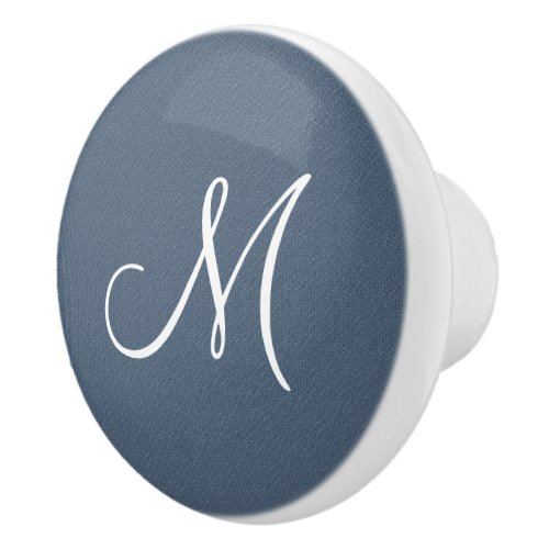 Denim Monogram Ceramic Knob