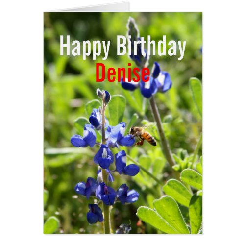 Denise Texas Bluebonnet Happy Birthday Card