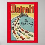 Detroit motor city poster vintage art posters