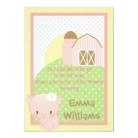 Diddles Farm Pig Baby Shower Invitation-Pink-Blue Card