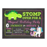 ❤️ Dinosaur and Unicorn Joint Birthday Party Invitation
