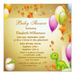 ❤️ Sweet Elegant Dinosaur With Baby, Balloon & Stars Shower Invitation