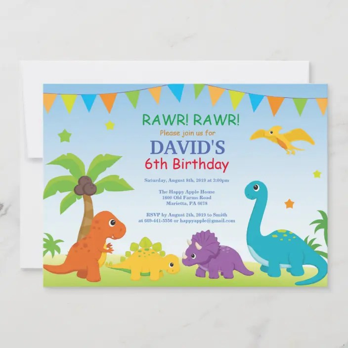 Buy dinosaurs birthday cards & invitations for invitations and get the best deals at the lowest prices on ebay! Dinosaur Birthday Invitation Dino Party Zazzle Com