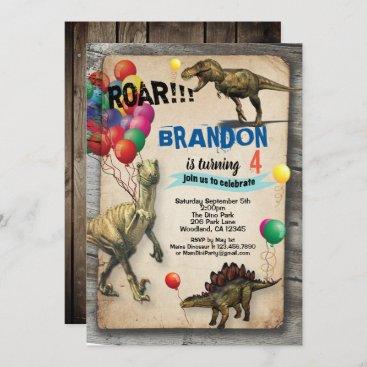 Dinosaur birthday invitation rustic realistic
